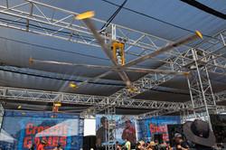 14' Overhead Industrial Fan in the Merchandise Tent