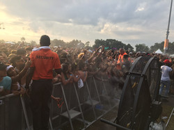 Big Black Misting Fan Cools the Crowd