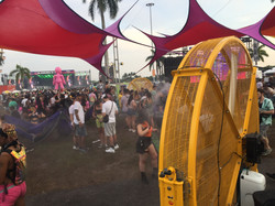 Big Yellow Misting Fans in the Relaxation Area