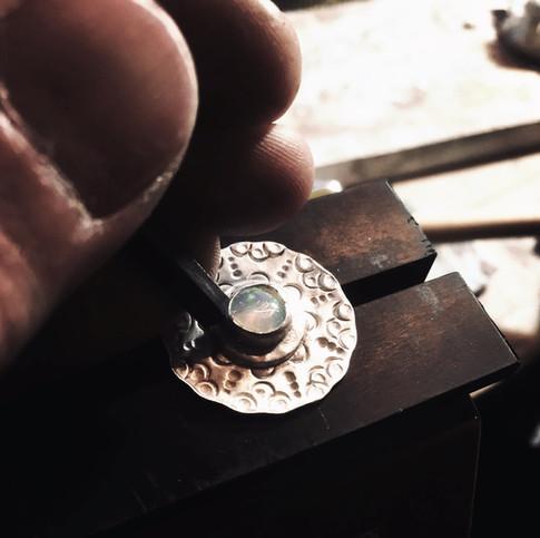 opal setting in 950 silver