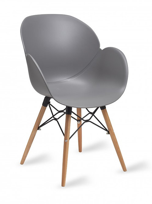 Shoreditch Arm Chair/Timber Base -Grey