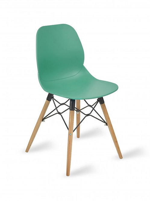 Shoreditch Chair/Timber Base -Turquoise