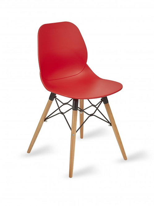 Shoreditch Chair/Timber Base - Red