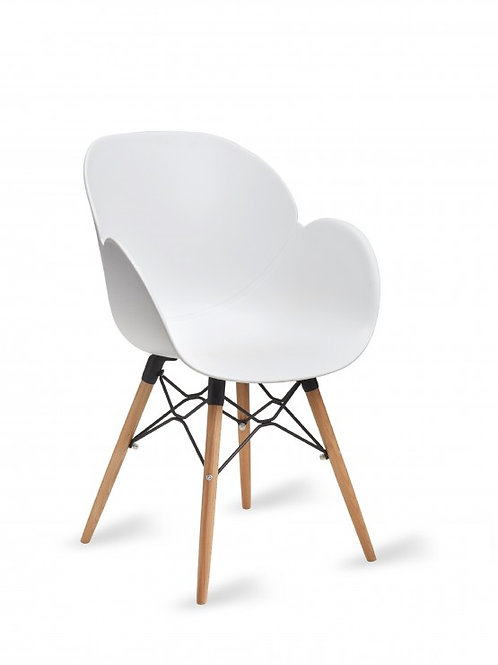 Shoreditch Arm Chair/Timber Base - White