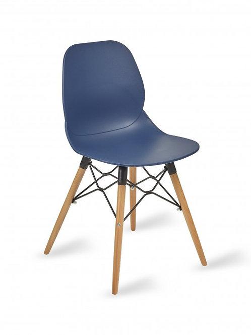 Shoreditch Chair/Timber Base - Navy Blue