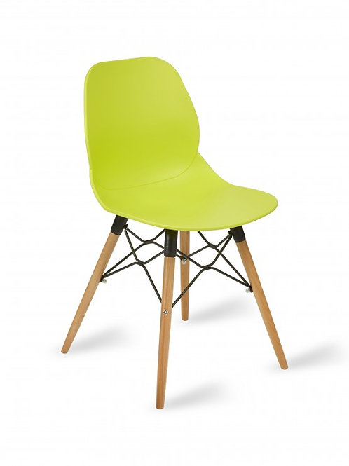 Shoreditch Chair/Timber Base - Lime Green