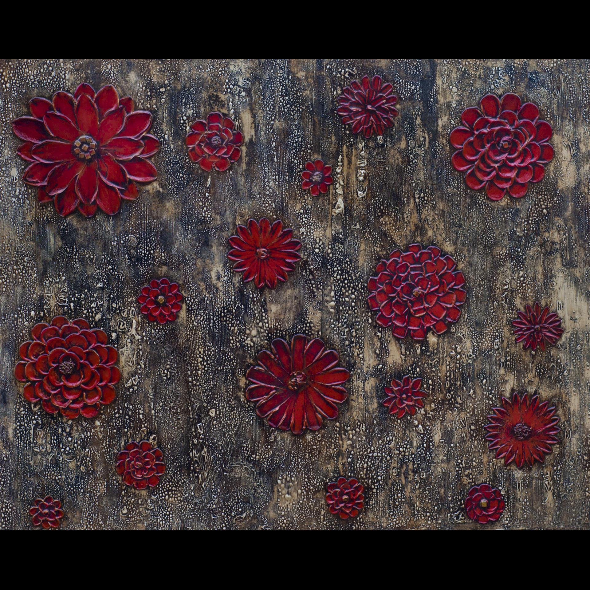 Cascada de Flores Roja