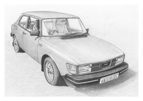 Saab 99 turbo illustration