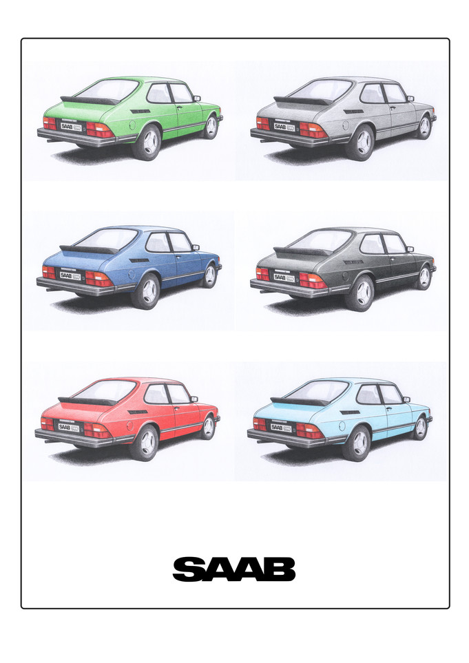 Saab 900 Colours illustration