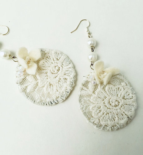 Lace and Flower Earrings