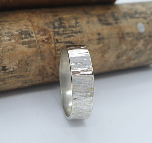 Silver Bark Textured Ring