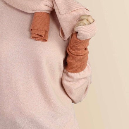 Cashmere Wrist Warmers in Blush and Sugared Almond