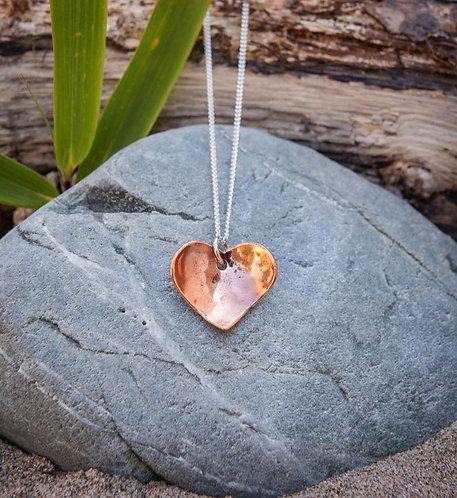 Copper Heart Charm Pendant