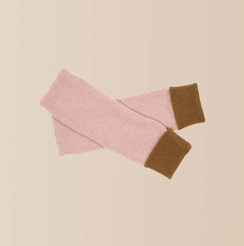 Cashmere Wrist Warmers in Blush and Camel