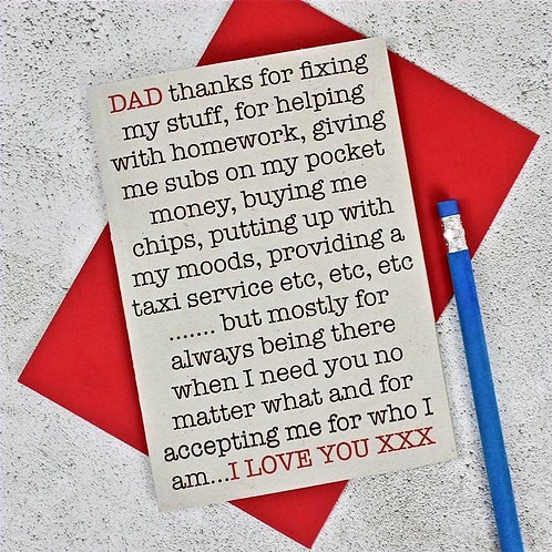 'Thanks, Dad' Greetings Card