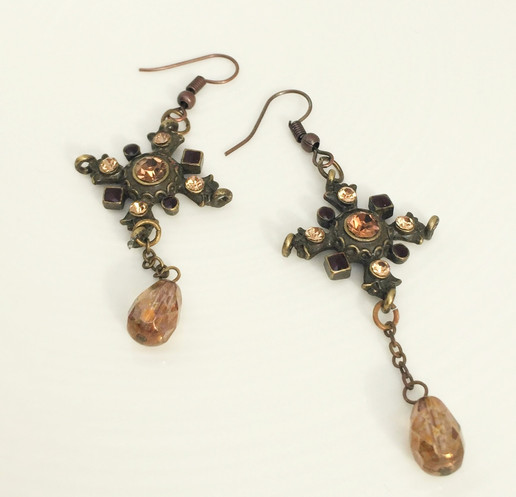 Bronze and amber earrings