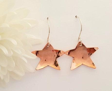 Copper Star Drop Earrings