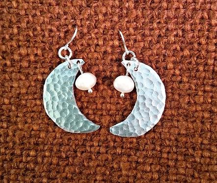 Aluminium Moon and Pearl Earrings
