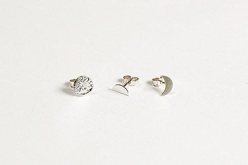 Silver Moon Cycle Earring Set