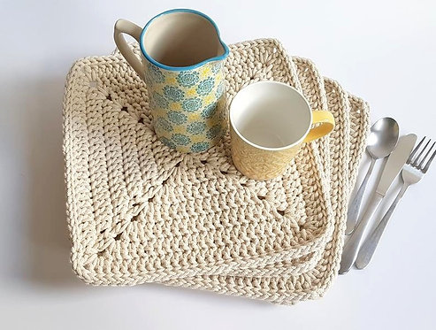Set of 4 Square Crocheted Table Mats in Cream
