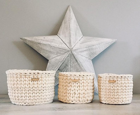 Set of Three Crochet Baskets in Cream