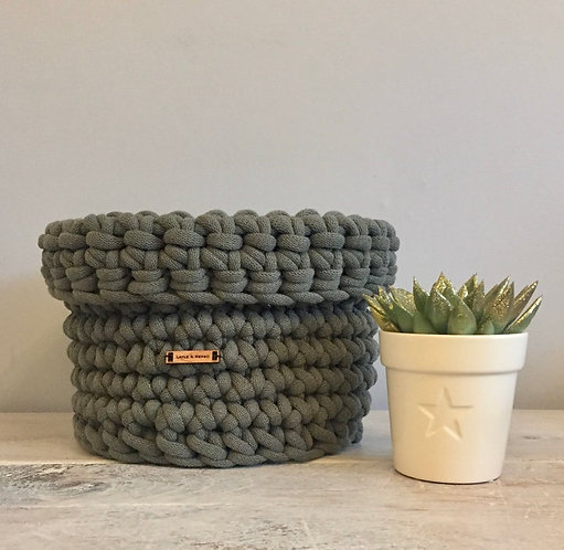 Chunky Rope Crochet Basket in Olive