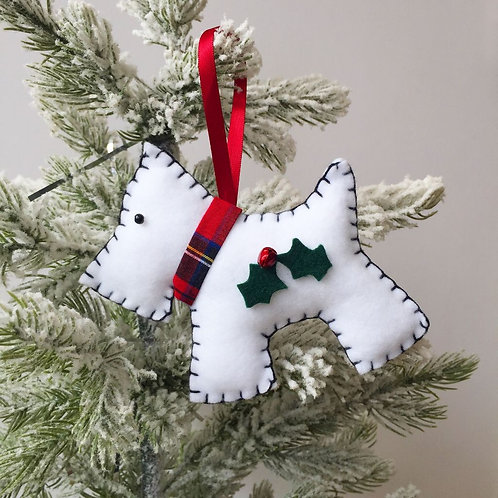 White Dog Christmas Decoration