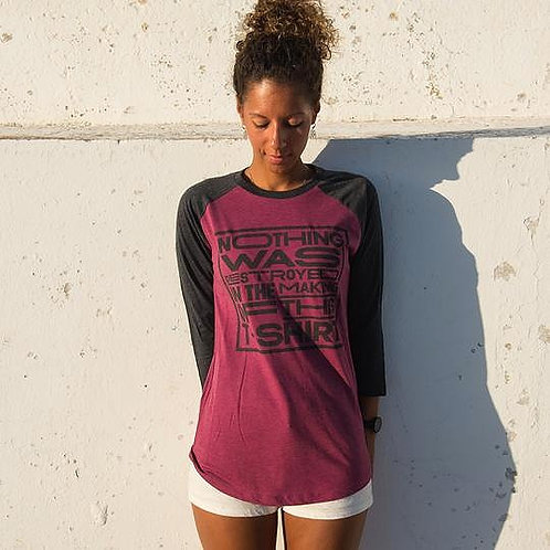 Unisex Baseball Tee in Grey and Plum