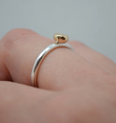 Gold Nugget Silver Stacking Ring