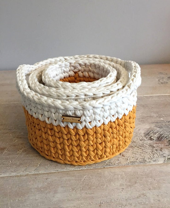 Set of Three Crochet Baskets with Handle in Mustard and Cream