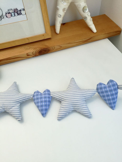 Named Star and Heart Hanging Decoration - Blue