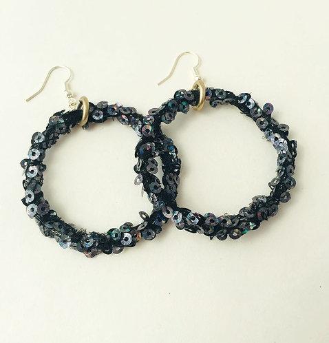 Black Sequin Hoop Earrings