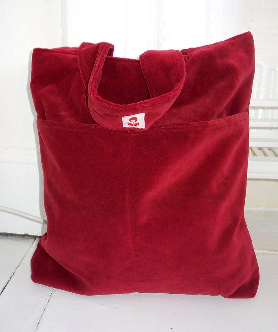 Burgundy Velvet Tote Bag
