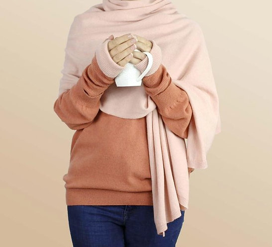Oversized Cashmere Wrap in Blush
