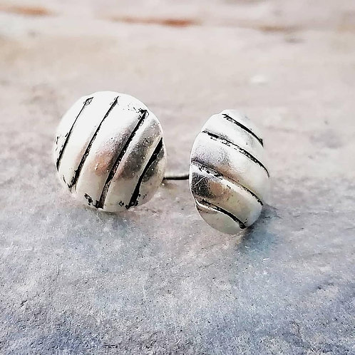 Striped Silver Stud Earrings