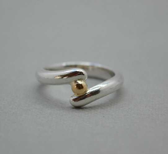 Twist Silver Ring with Gold Bead