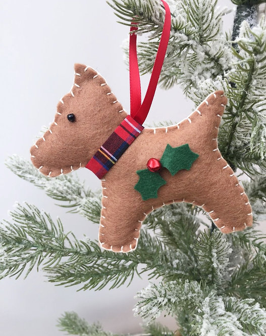 Brown Dog Christmas Decoration