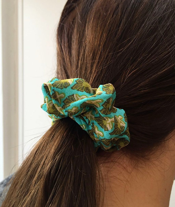 Pair of Green Silk Scrunchies