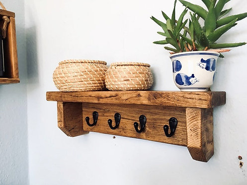 Rustic Shelf with Robe Hooks