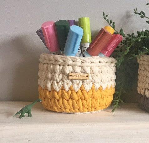 Small Crochet Pot in Mustard and Cream