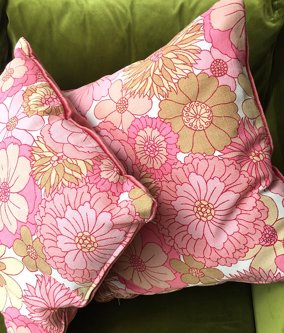 Vintage Floral Fabric and Velvet Cushion