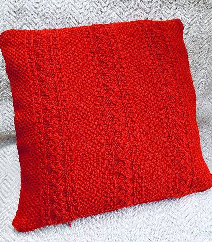 Red Cable Knit Jumper Cushion