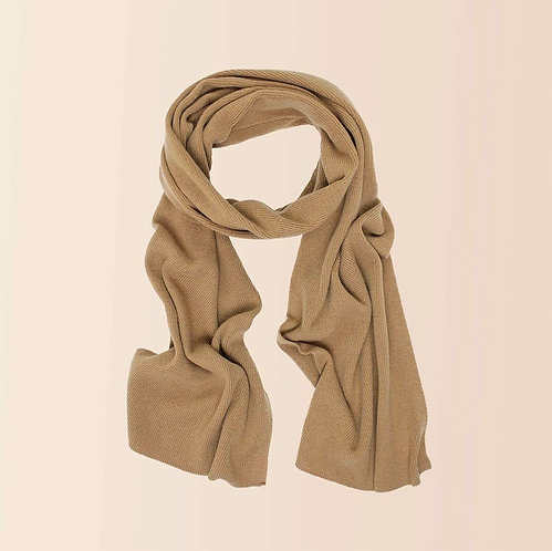 Long Cashmere Scarf in Camel
