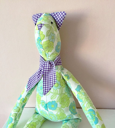 Vintage Fabric Cat Soft Toy