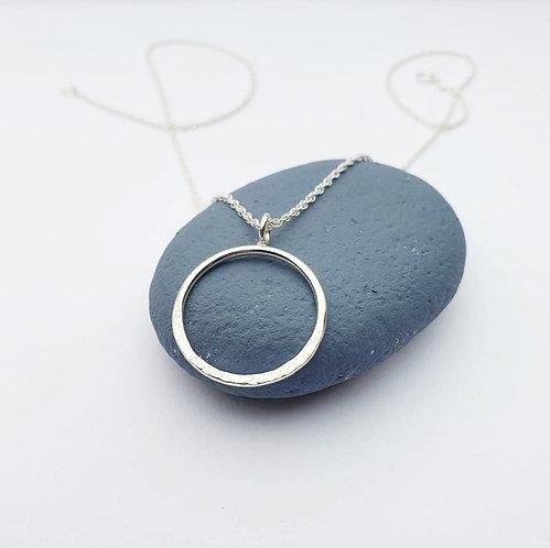 Half Textured Silver Circle Necklace
