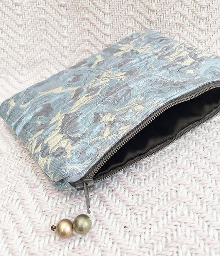 Blue Fabric Zip Purse with Olive Lining