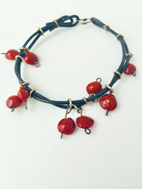 Coral Bead and Brass Bracelet