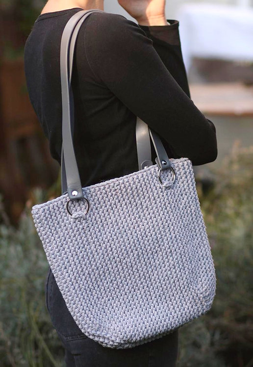 Cotton Knitted Shopper in Grey