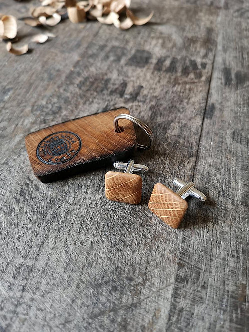 Oak Whiskey Barrel Cufflinks and Keyring Set