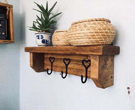 Rustic Shelf with Heart Hooks